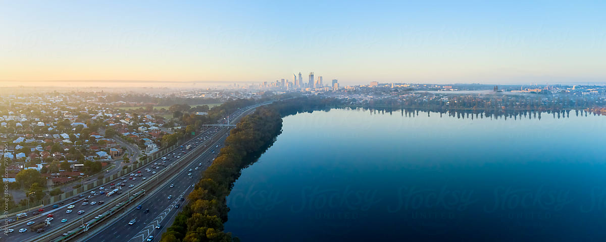 Perth and Swan River Aerial Panoramic Photo