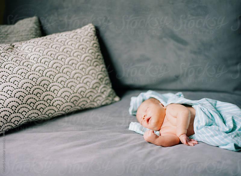 Newborn baby boy asleep on the couch by Marta Locklear for Stocksy United