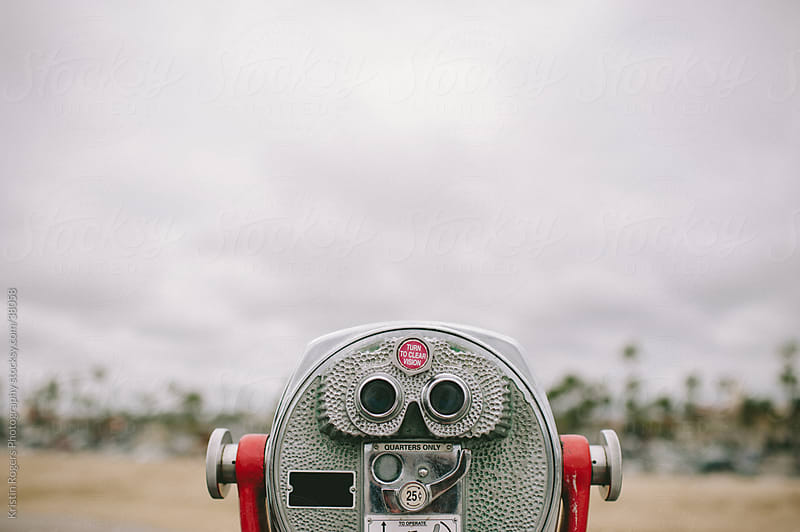California Beach Pier Binocular telescope  by Kristin Rogers Photography for Stocksy United