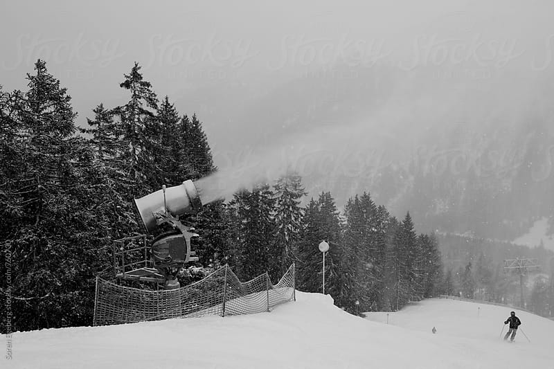 Artificial snow making on a ski run in Austria by Søren Egeberg Photography for Stocksy United