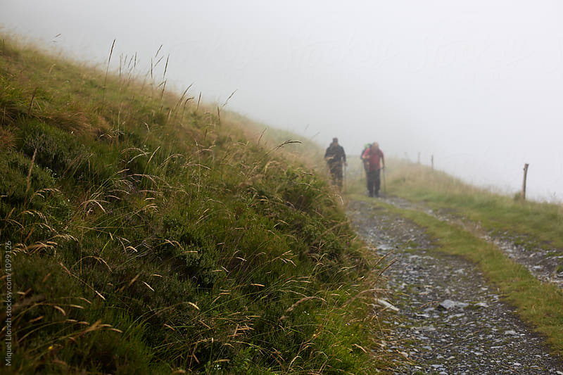 Group of hikers in a foggy day by Miquel Llonch for Stocksy United