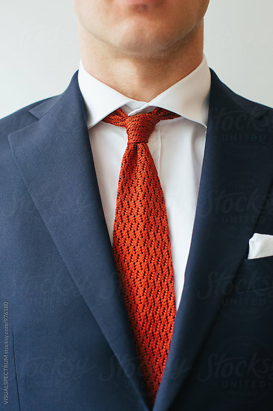 Men's Fashion - Closeup of Red Crocheted Tie by Julien L. Balmer for Stocksy United