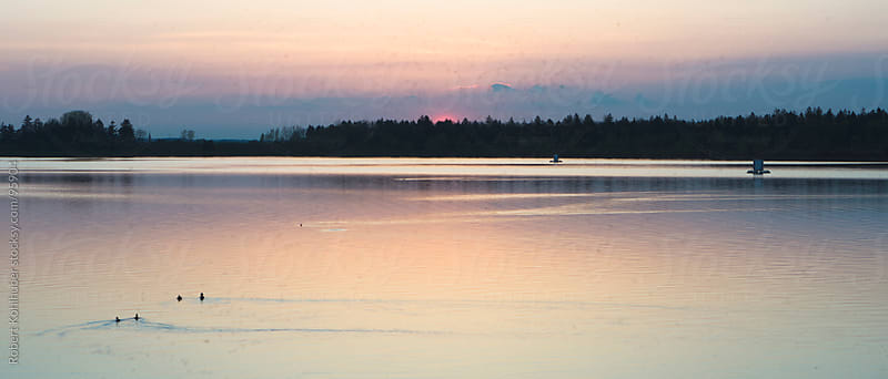 Sunset over lake by Robert Kohlhuber for Stocksy United
