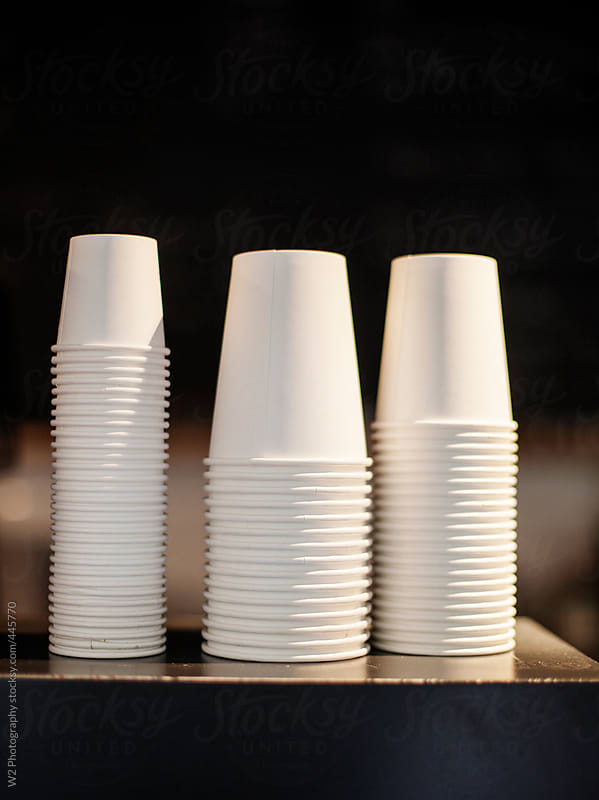 Detail closeup of coffee cups in a cafe by W2 Photography for Stocksy United