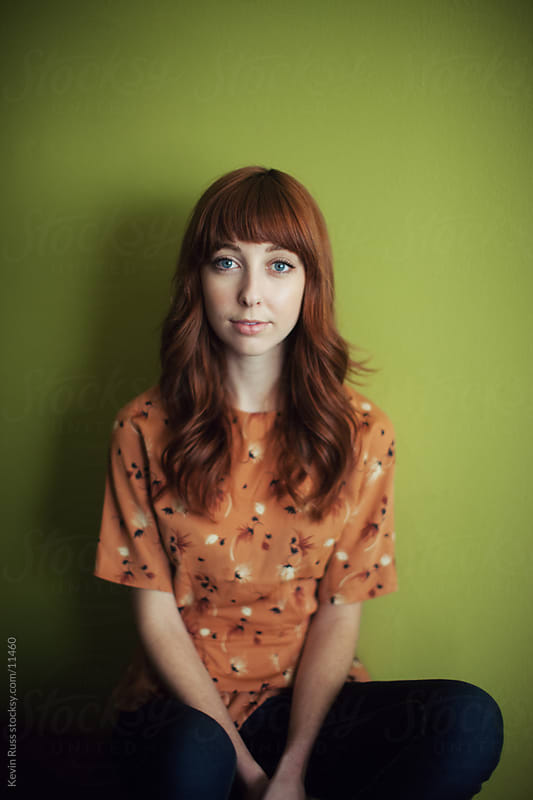 Redhead Woman Wall Portrait by Kevin Russ for Stocksy United
