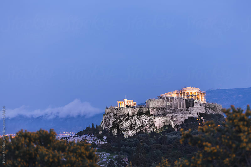 Lights Turn on at the Acropolis by Helen Sotiriadis for Stocksy United