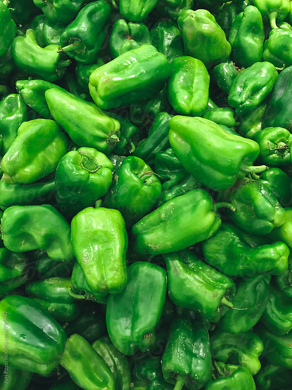 top view of  green peppers by Juri Pozzi for Stocksy United