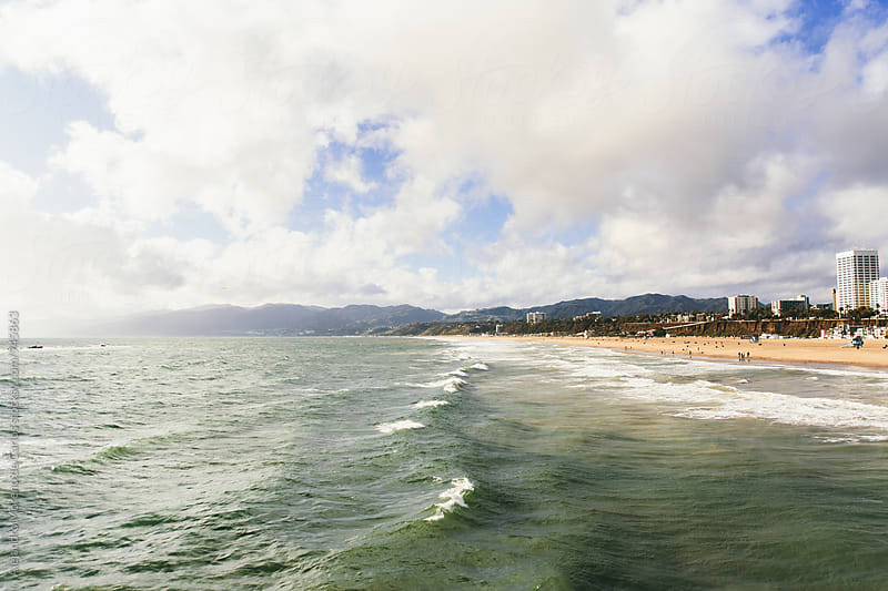 Cloudy view of beach in Santa Monica, California by Alejandro Moreno de Carlos for Stocksy United