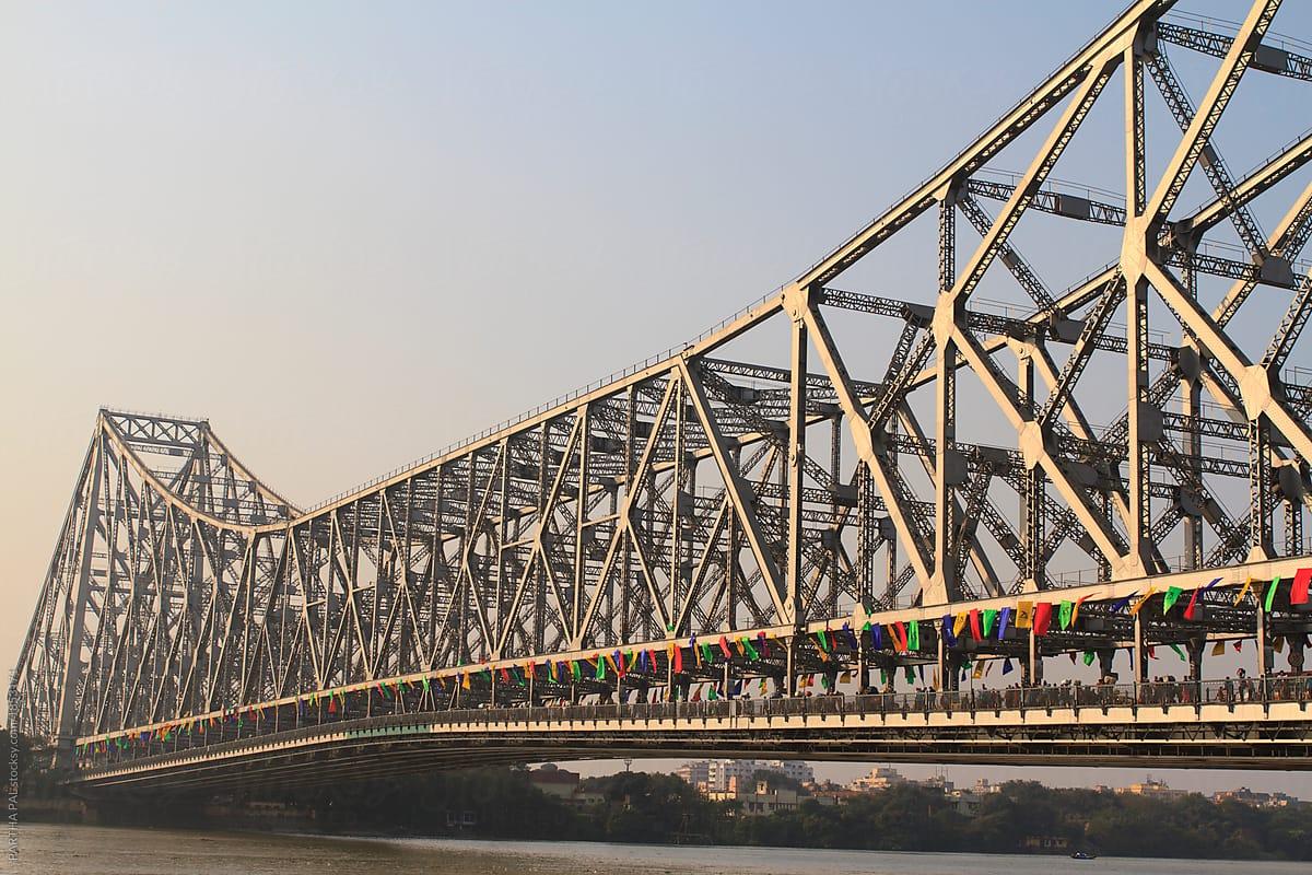 Howrah Bridge A Vintage Construction Over River Ganga At Kolkata