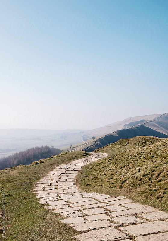 Stone mountain footpath on Mam Tor. Derbyshire, UK. by Liam Grant for Stocksy United
