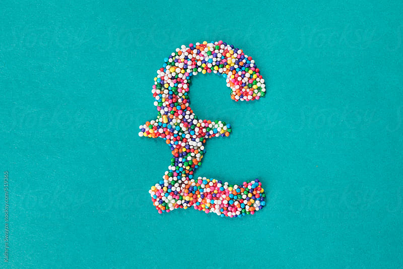 The British Pound Symbol Built From Nonpareils Stocksy United
