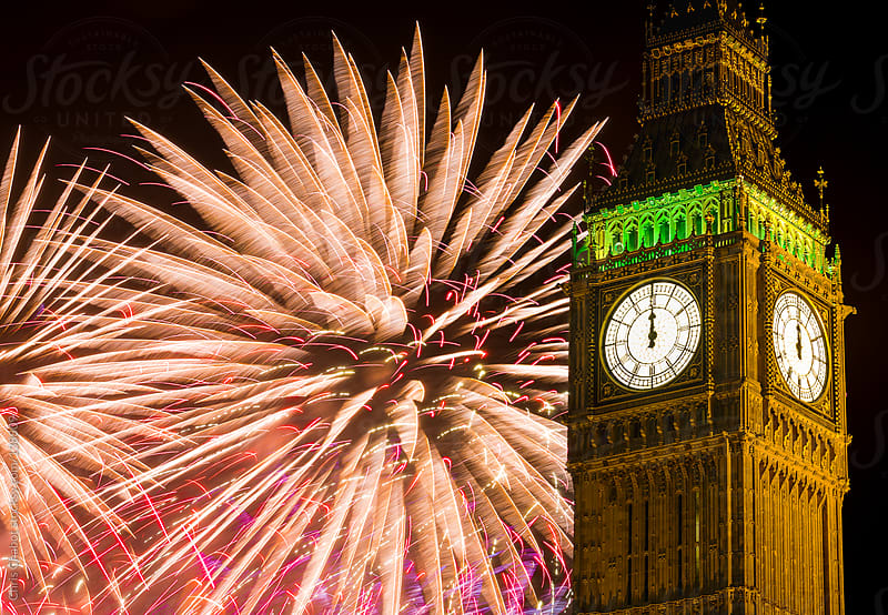 Fireworks show at the New Year celebration in London by Chris Chabot for Stocksy United