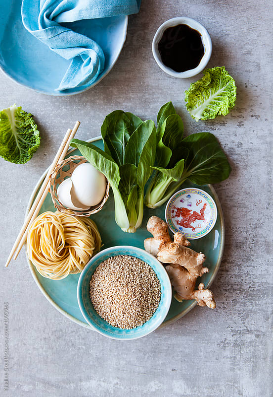 Top view of Asian cuisine cooking ingredients by Nadine Greeff for Stocksy United