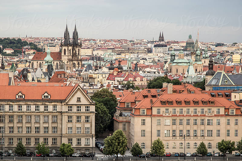 Prague's Staré Město as seen from Letna Sady by Melanie Kintz for Stocksy United