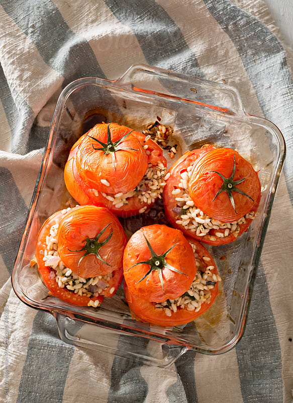 Roasted Stuffed Tomatoes by Jeff Wasserman for Stocksy United