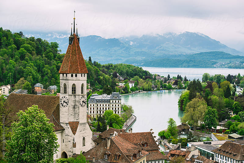 City of Thun with church tower and lake Thun, Switzerland by Peter Wey for Stocksy United