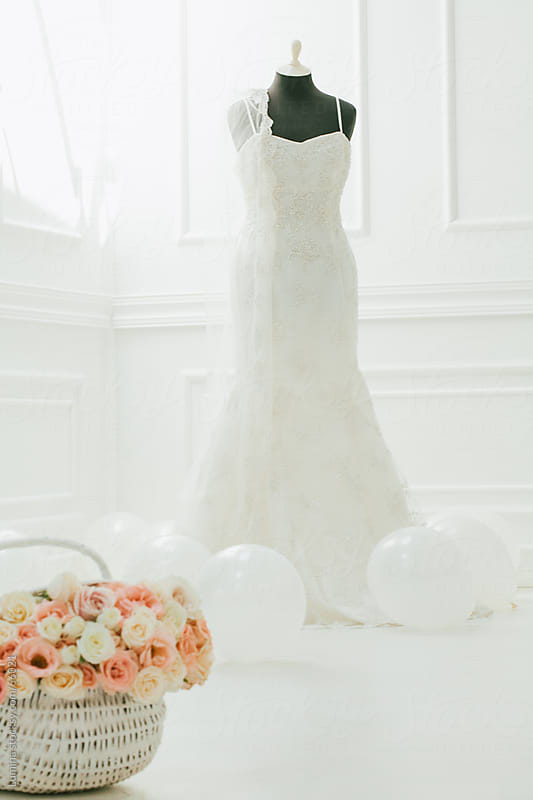 Wedding Dress, Roses and Balloons by Lumina for Stocksy United