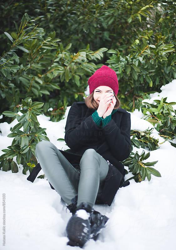 Winter portrait of a beautiful brunette  by Natasa Kukic for Stocksy United