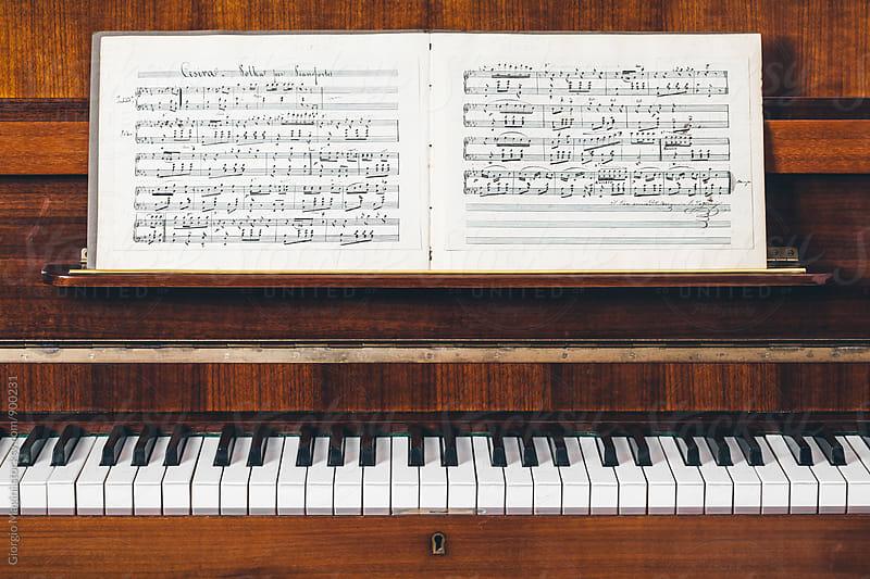 19th Century Handwritten Musical Score on Piano by Giorgio Magini for Stocksy United