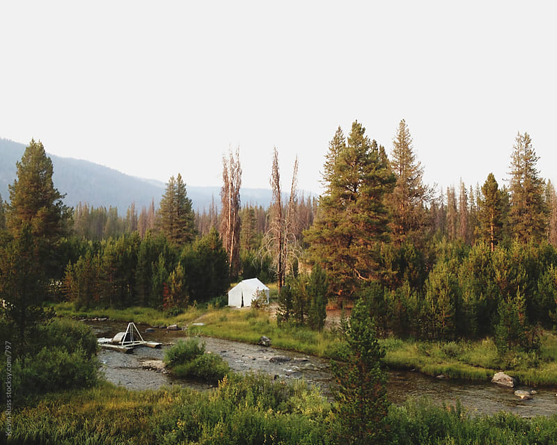 Sunset Creek Camping by Kevin Russ for Stocksy United
