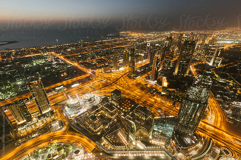 Aerial view of the Burj Dubai, Dubai, UAE by MaaHoo Studio for Stocksy United
