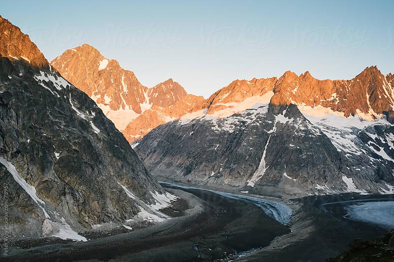 Finsteraarhorn mountain peak with Finsteraar glacier and Unteraa by Peter Wey for Stocksy United