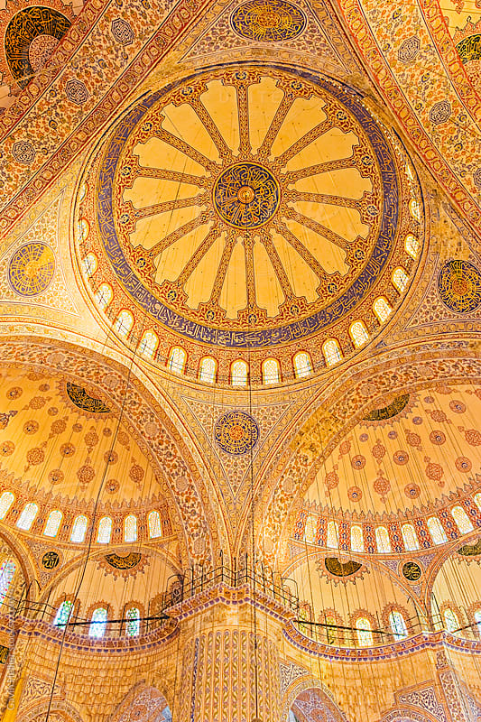 Sultanahmet mosque ceiling, Istanbul, Turkey, Europe by Gavin Hellier for Stocksy United