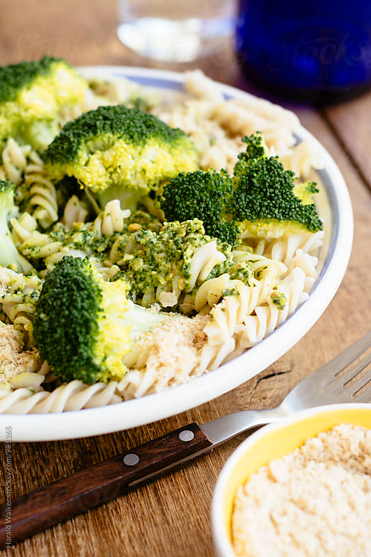 Spirielli Pasta with Broccoli and Pesto by Harald Walker for Stocksy United