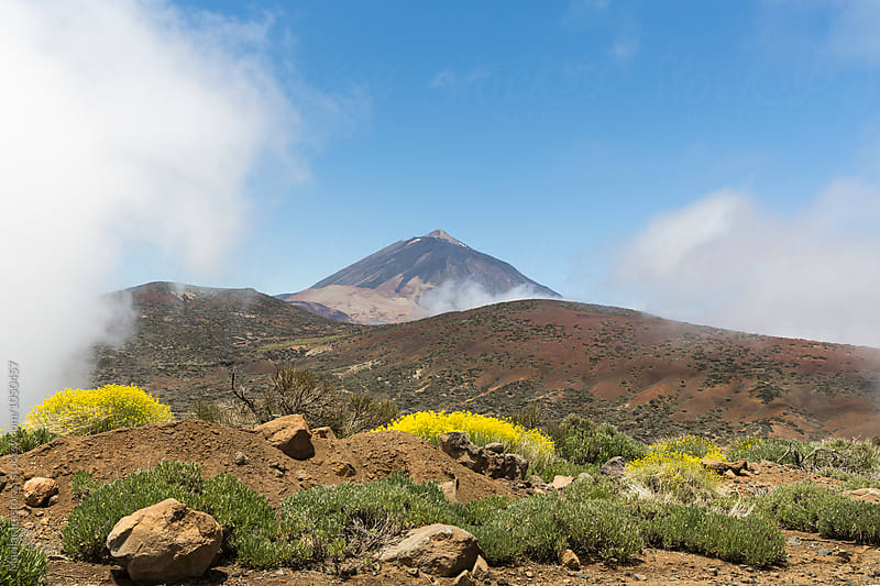 View of the Teide volcano in clouds by Marilar Irastorza for Stocksy United