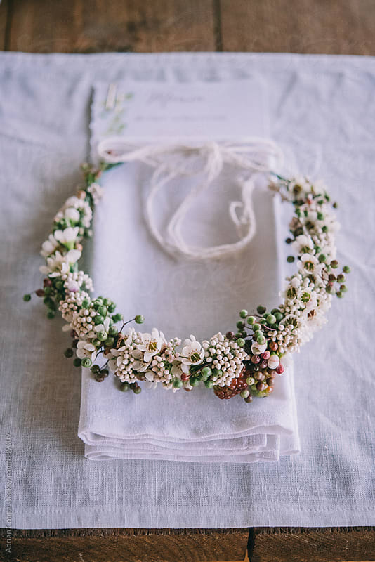 Flowers  wreath  by Adrian Cotiga for Stocksy United