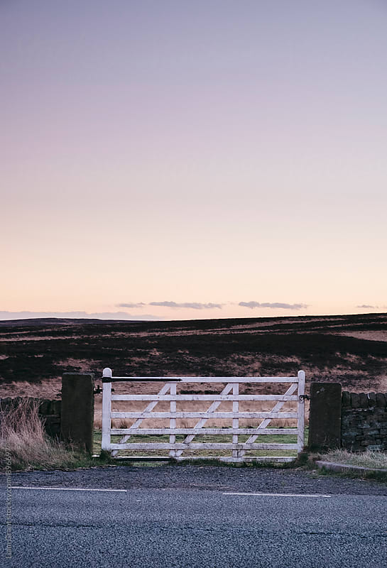 White gate leading to moorland at twilight. Derbyshire, UK. by Liam Grant for Stocksy United