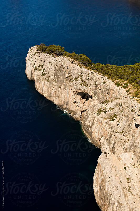 Views from a rocky cliff in Spanish coast, Mallorca by Leandro Crespi for Stocksy United