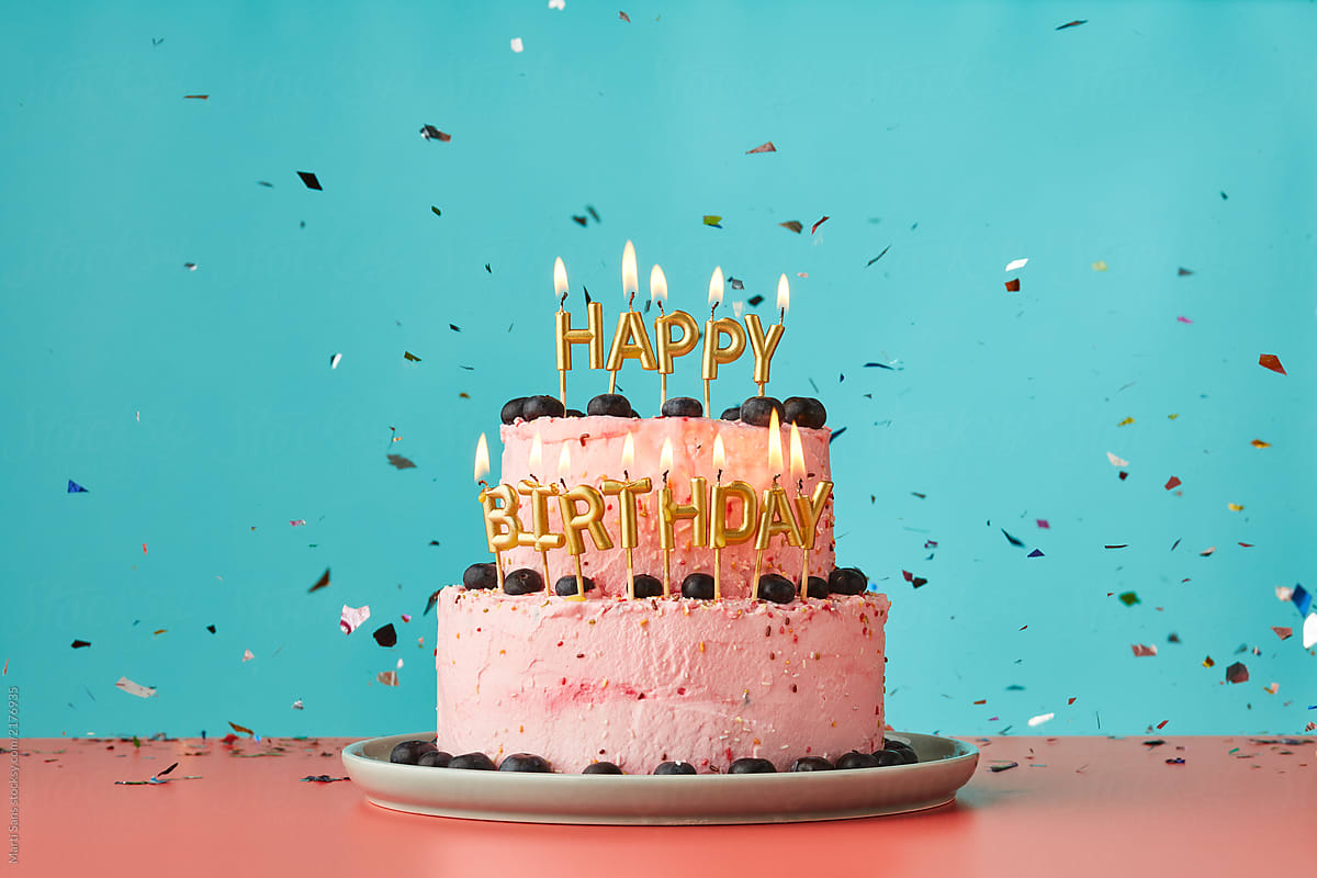Happy Birthday Cake With Candles And Confetti. | Stocksy United