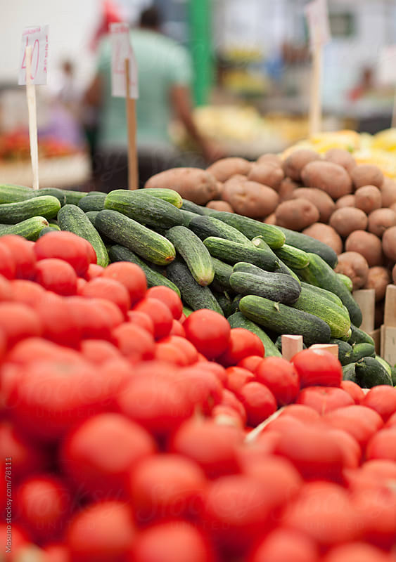 Fresh organic vegetables on a market. by Mosuno for Stocksy United