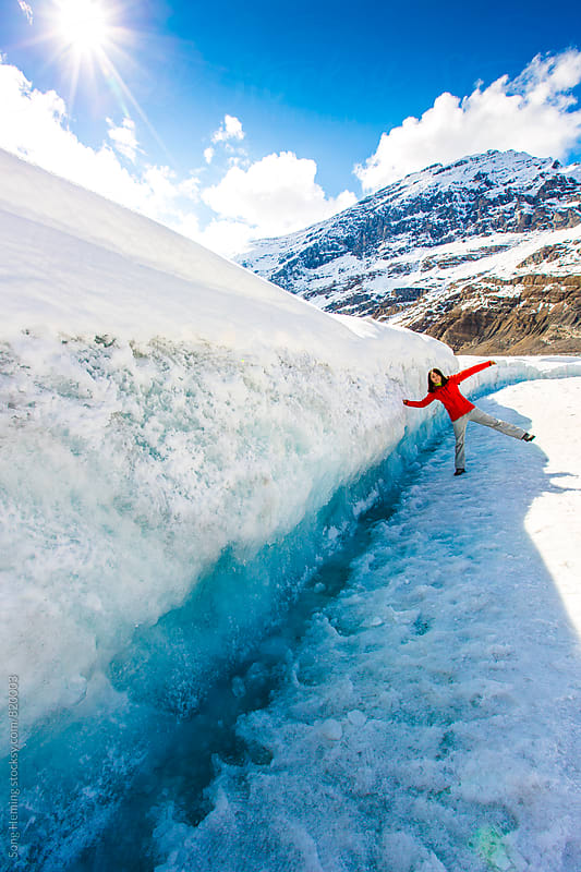 girl at icefield by Song Heming for Stocksy United