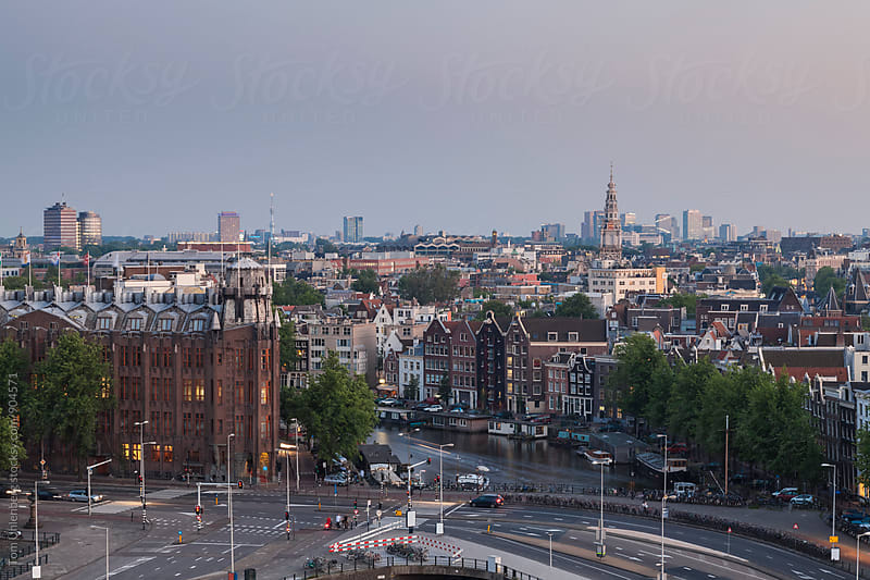 Amsterdam, the Netherlands - Panorama of the City at Dusk by Tom Uhlenberg for Stocksy United