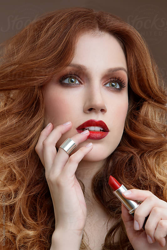red lipstick beauty by Sonja Lekovic for Stocksy United