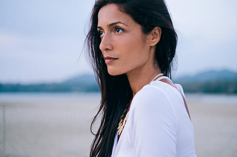 Beautiful Woman at the Beach by Marija Savic for Stocksy United