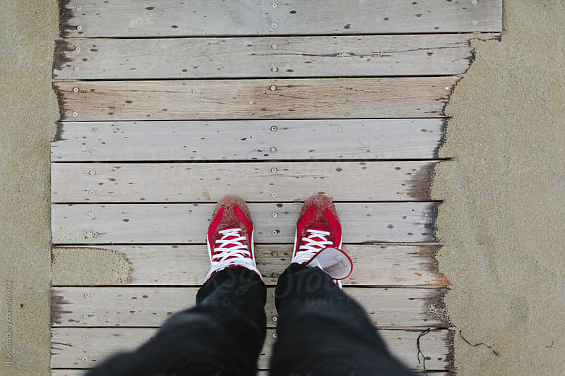 Red Sneakers on Beach Ground by HEX. for Stocksy United