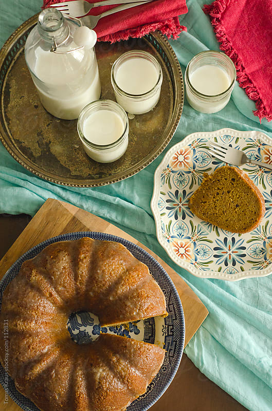 pumpkin cake setting by Tomas Kraus for Stocksy United