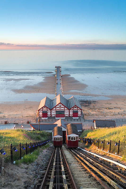 Saltburn Cliff Railway at Sunset by Marilar Irastorza for Stocksy United