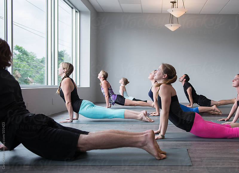 Students in a beginner yoga class are in the cobra position by Cara Dolan for Stocksy United