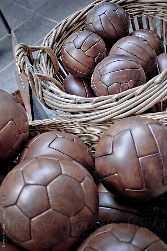 Collection of Old Leather Soccer Balls by Rowena Naylor for Stocksy United