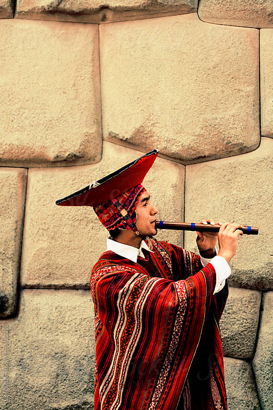 Traditional Peruvian musician. Cusco. Peru by Hugh Sitton for Stocksy United
