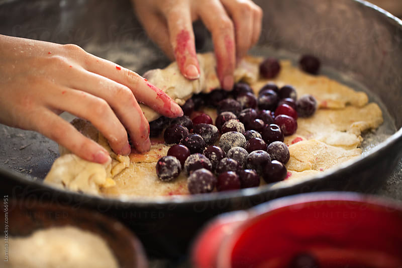 Woman Making a Cherry Pie by Lumina for Stocksy United