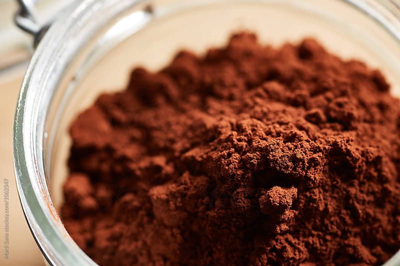 Macro of cocoa powder jar by Martí Sans for Stocksy United