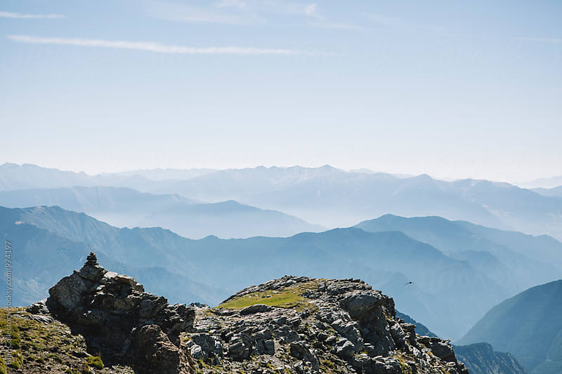 A view of the horizon above the cloudy morning in the mountains by Blue Collectors for Stocksy United