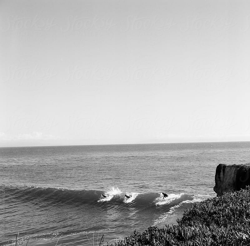 3 Surfers grab the cliff break at Steamers Lane by Briana Morrison for Stocksy United
