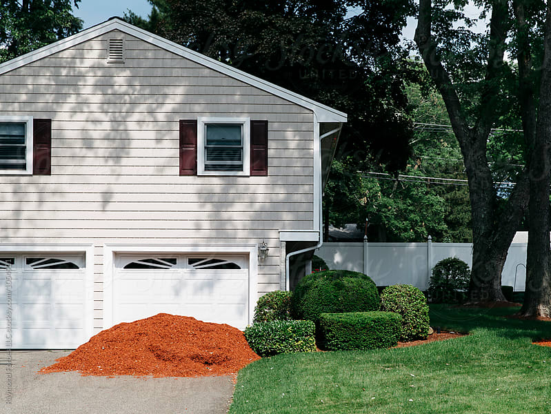 Pink Bark Mulch in Driveway by Raymond Forbes LLC for Stocksy United