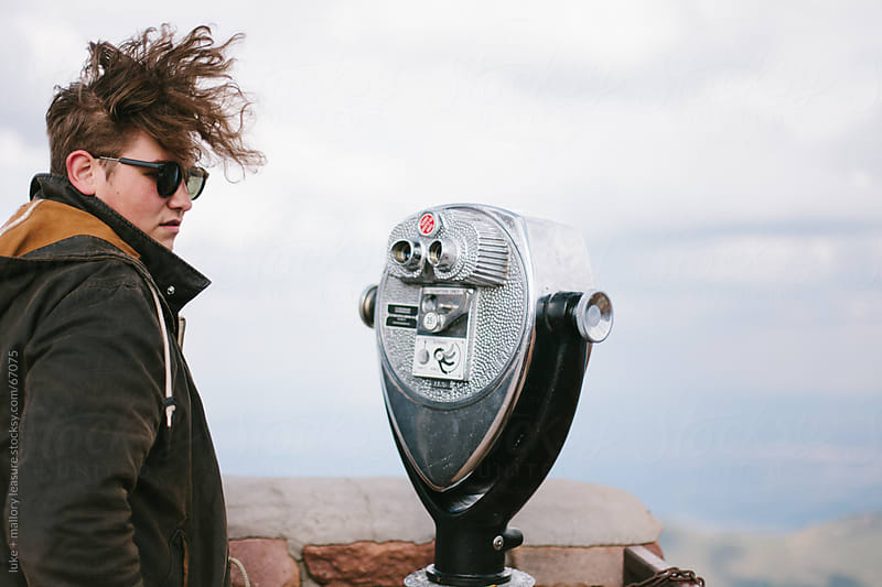 Young man at overlook by luke + mallory leasure for Stocksy United